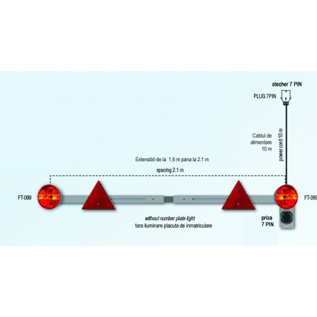 Bara de iluminare extensibil cu lampi spate FT-099