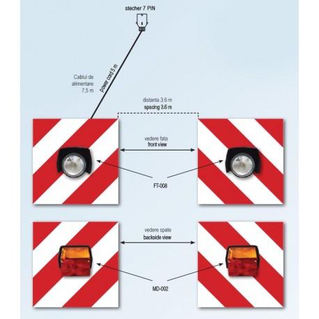 Set panouri avertizare cu lampa fata FT-008 si lampa spate MD-002